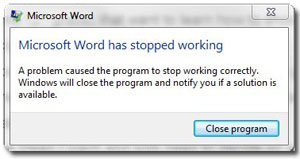 Word error message